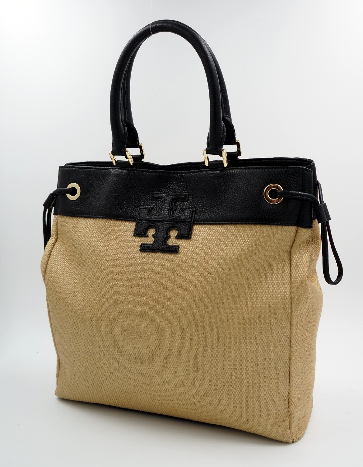 tory burch leder tasche straw bast schwarz beige uvp. Black Bedroom Furniture Sets. Home Design Ideas