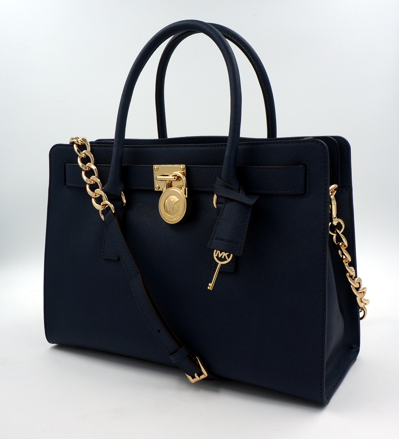 michael kors leder tasche hamilton lg satchel navy uvp. Black Bedroom Furniture Sets. Home Design Ideas