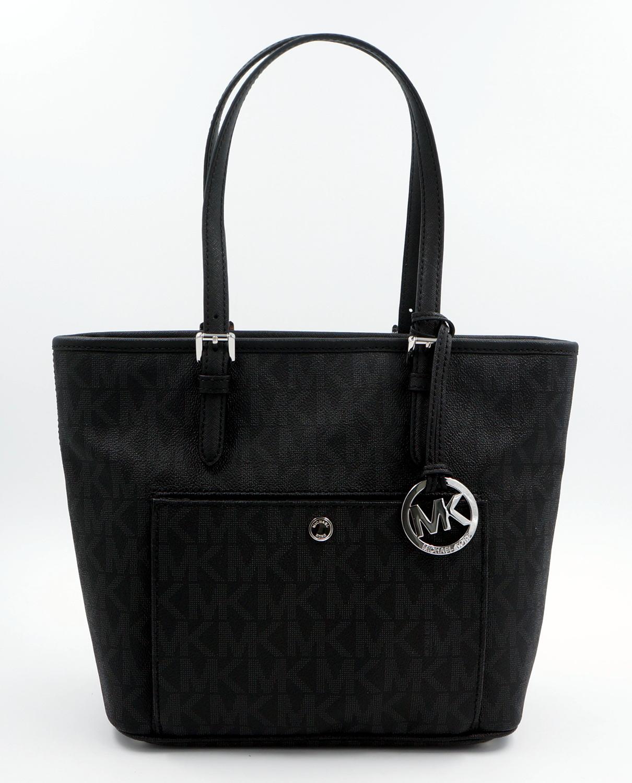 michael kors tasche handtasche jet set item md schwarz black signature neu ebay. Black Bedroom Furniture Sets. Home Design Ideas